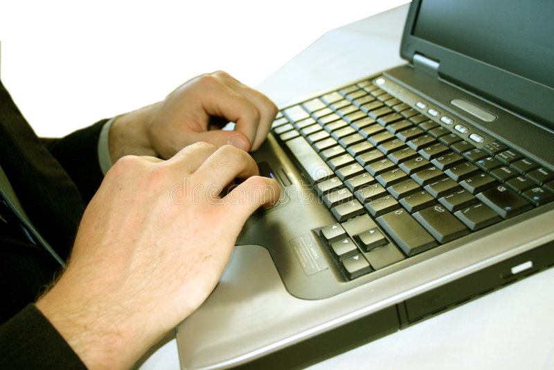 Hombre de negocios con la computadora portátil 33 imagen de archivo