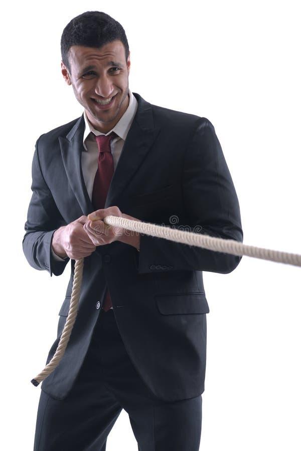 Hombre de negocios con la cuerda aislada en blanco fotografía de archivo