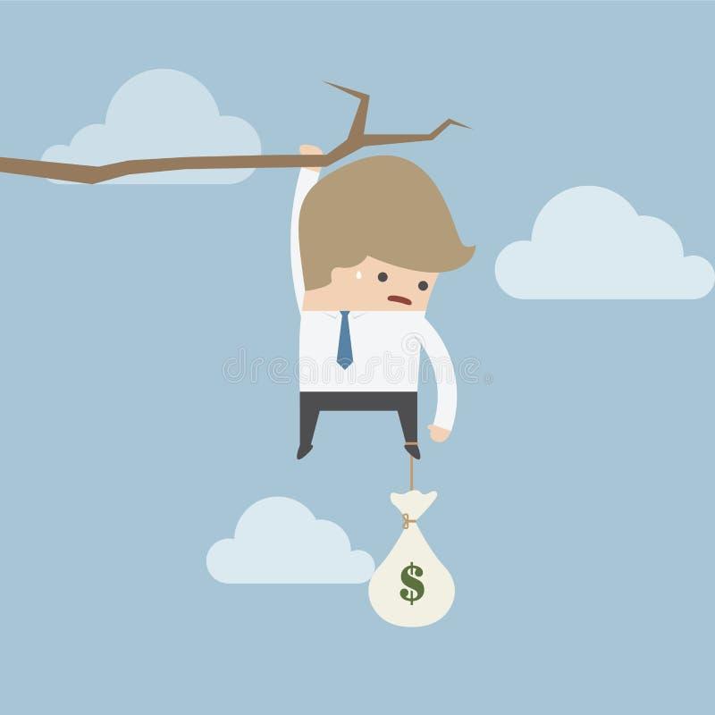 Hombre de negocios con la ejecución del bolso del dinero en una rama ilustración del vector