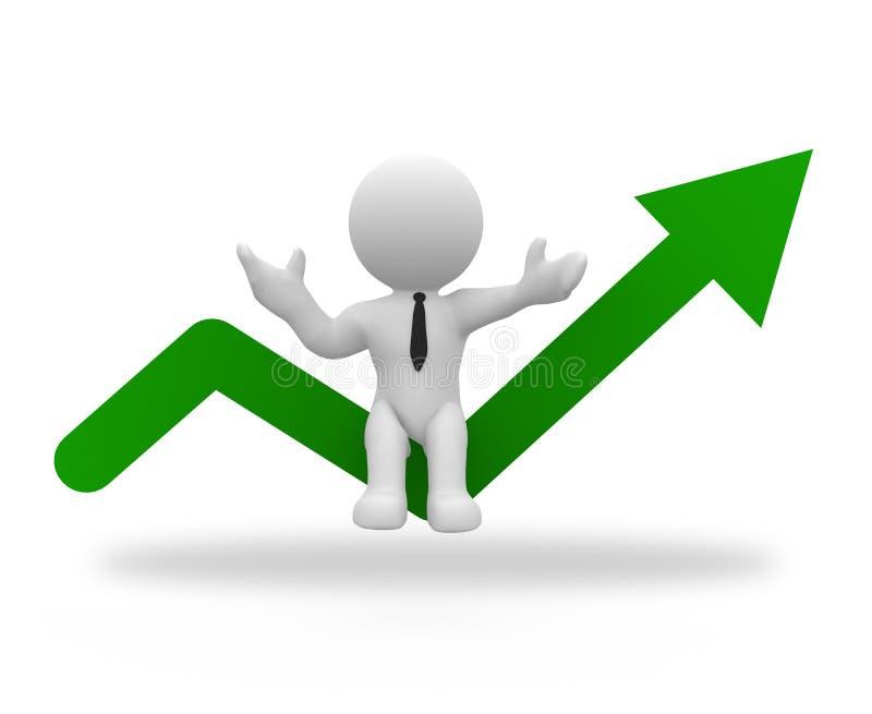 Hombre de negocios con la flecha ascendente ilustración del vector