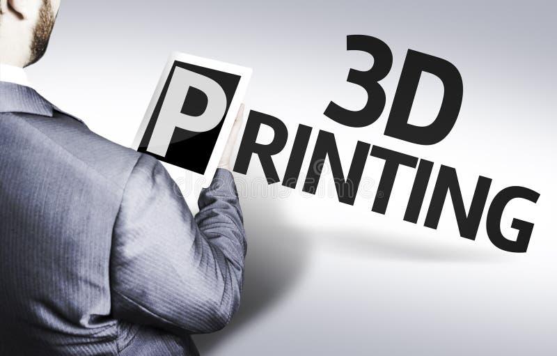 Hombre de negocios con la impresión del texto 3d en una imagen del concepto fotos de archivo