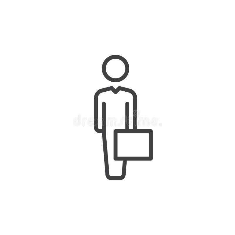 Hombre de negocios con la línea icono, muestra del vector del esquema, pictograma linear del caso del estilo aislado en blanco Sí ilustración del vector