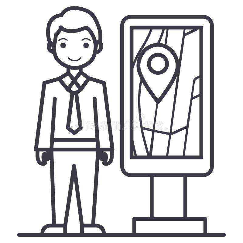 Hombre de negocios con la línea icono, muestra, ejemplo del vector de la cartelera del promo de la ubicación del geo en el fondo, ilustración del vector