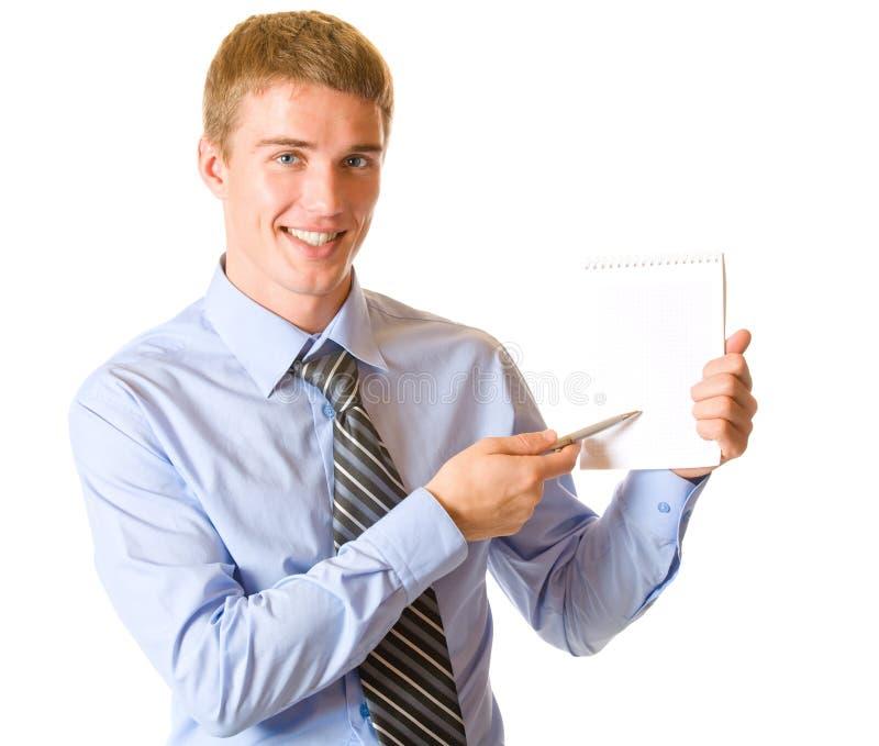 Hombre de negocios con la libreta foto de archivo