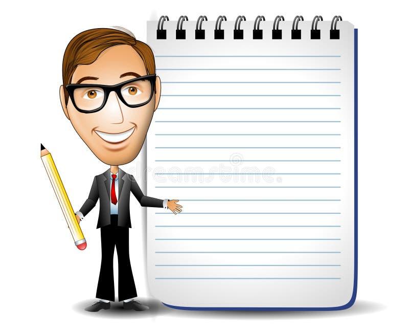 Hombre de negocios con la libreta ilustración del vector