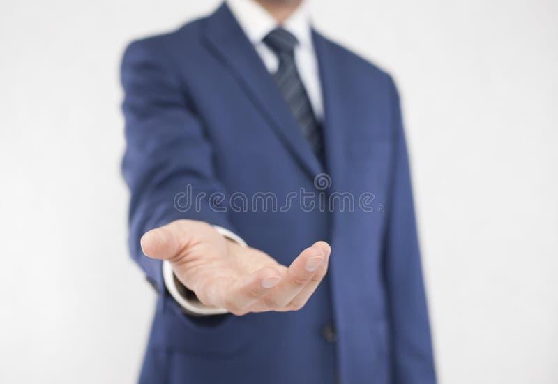 Hombre de negocios con la mano abierta fotografía de archivo