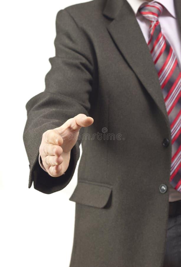 Hombre de negocios con la mano abierta imagen de archivo libre de regalías