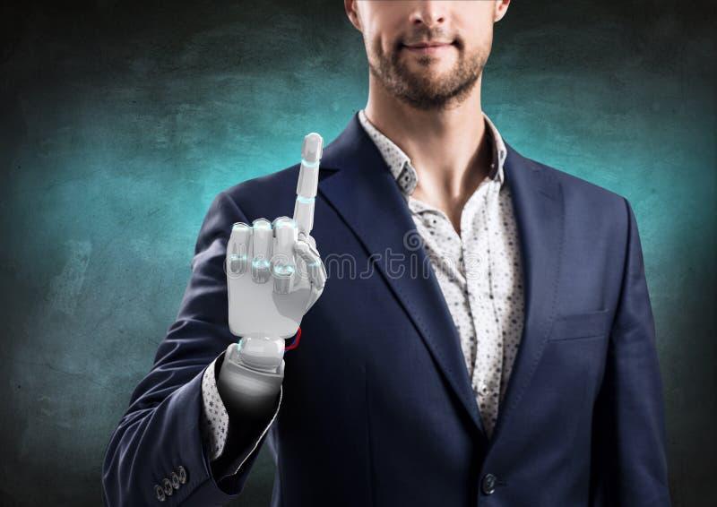 Hombre de negocios con la mano robótica Concepto de la prótesis representación 3d fotografía de archivo libre de regalías