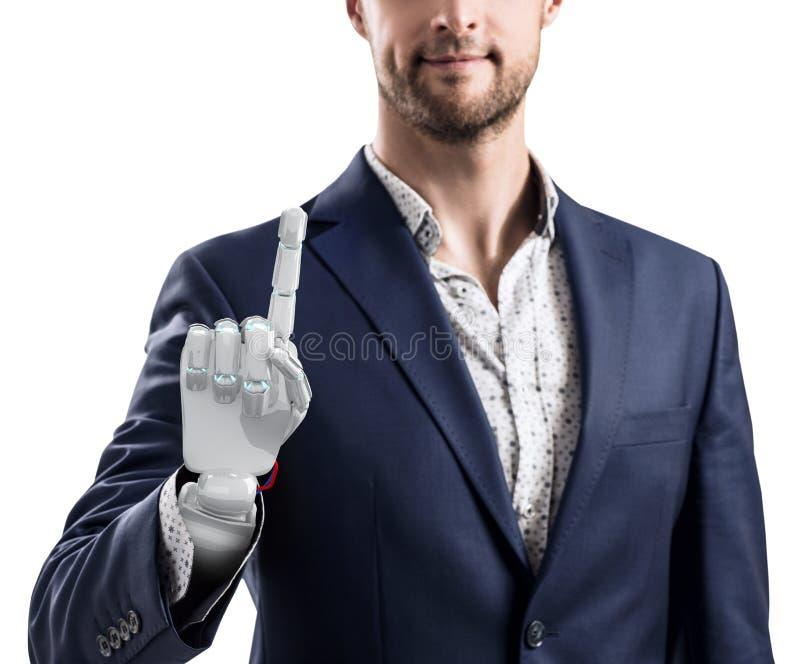 Hombre de negocios con la mano robótica Concepto de la prótesis representación 3d fotos de archivo libres de regalías