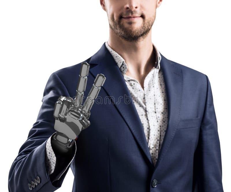 Hombre de negocios con la mano robótica Concepto de la prótesis representación 3d imagen de archivo libre de regalías