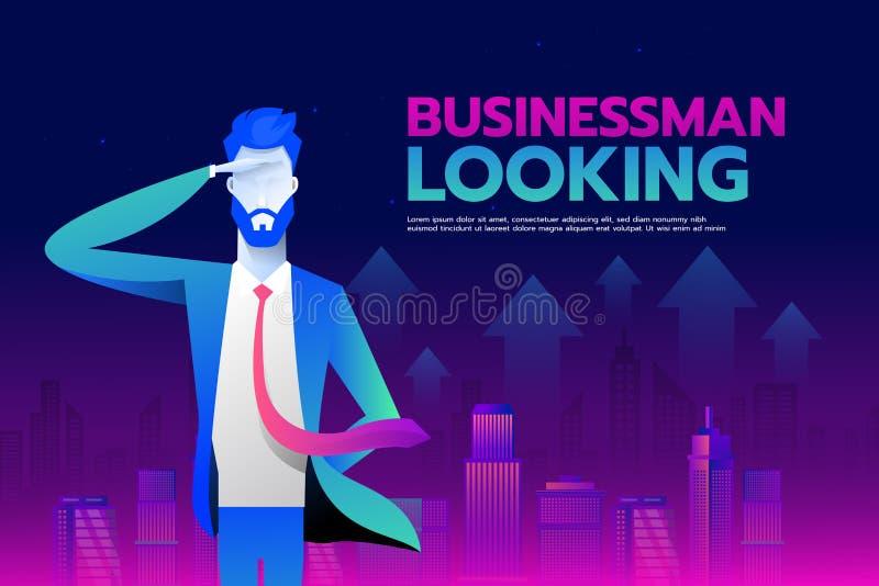 Hombre de negocios con la mirada adelante al fondo de la ciudad del wiith del éxito, concepto del negocio, vector 10 ilustración del vector