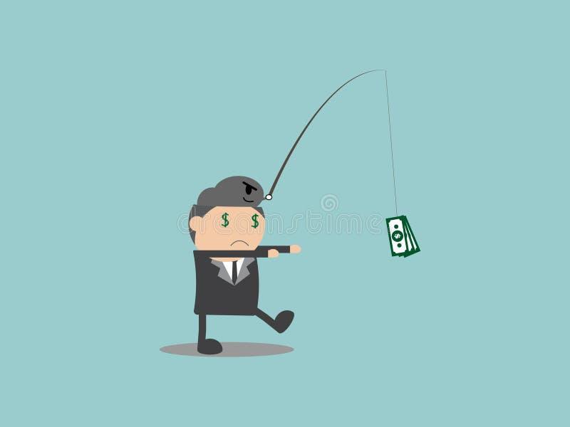 Hombre de negocios con la motivación del dinero Extracto del personaje de dibujos animados del ejemplo del vector del garabato imágenes de archivo libres de regalías