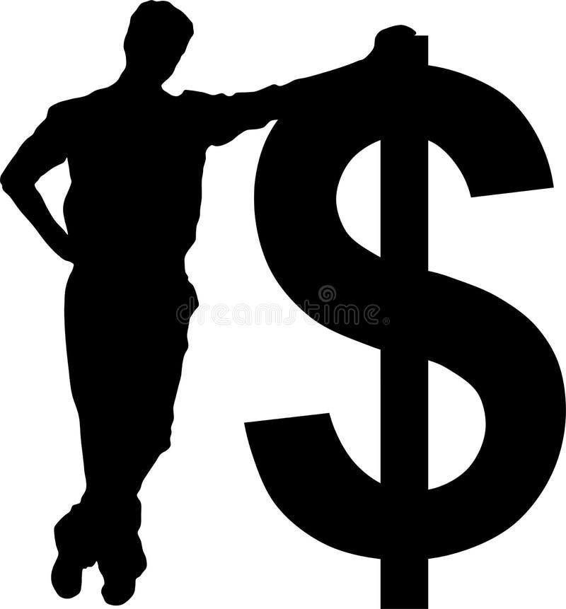 Hombre de negocios con la muestra de dólar ilustración del vector