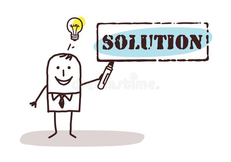 Hombre de negocios con la muestra de la solución ilustración del vector