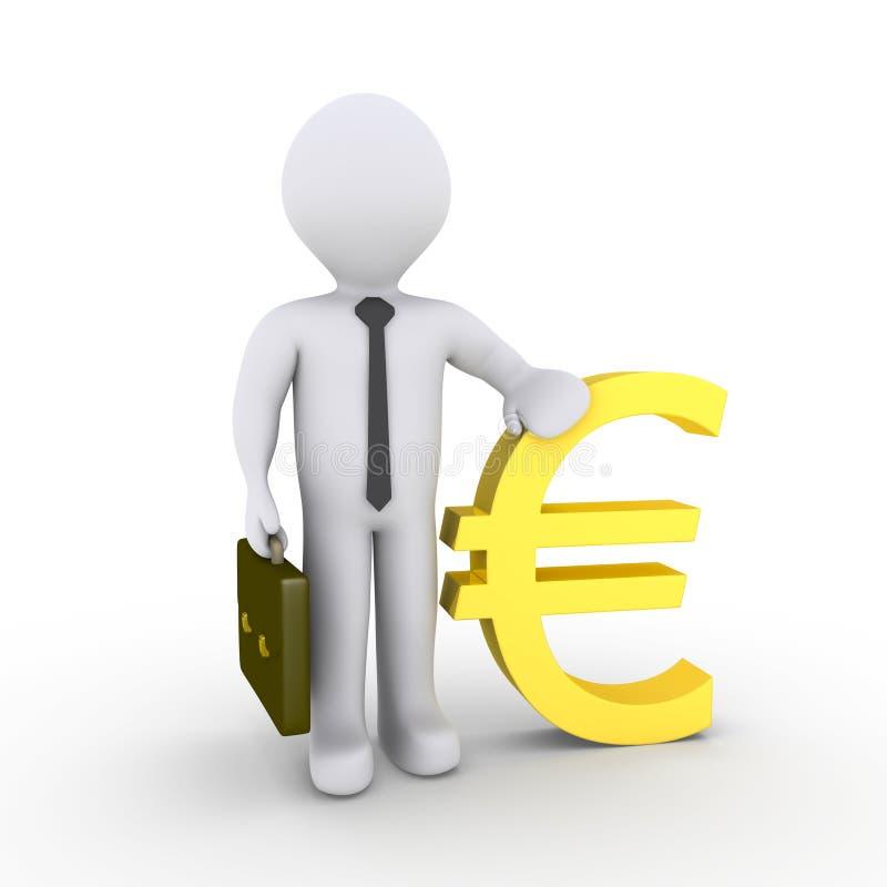 Hombre de negocios con la muestra euro ilustración del vector