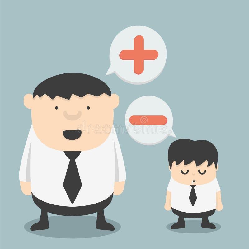 Hombre de negocios con la negativa y hombre de negocios Obese con t positivo libre illustration