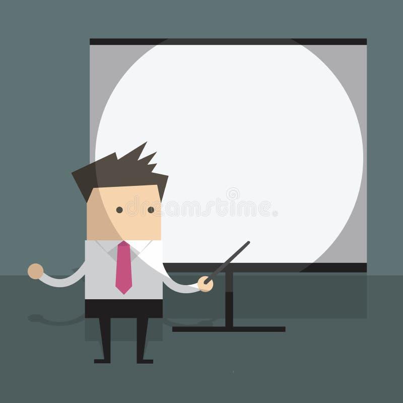 Hombre de negocios con la pantalla de proyector ilustración del vector