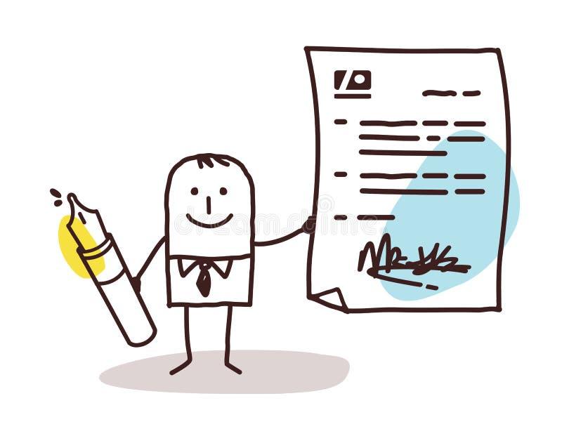 Hombre de negocios con la pluma y el contrato stock de ilustración