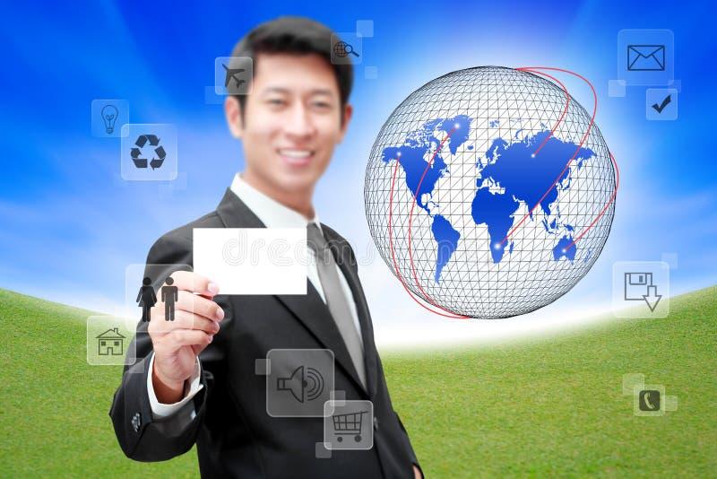 Hombre de negocios con la red y la comunicación sociales stock de ilustración