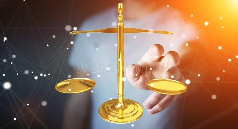 Hombre de negocios con la representación de las balanzas 3D de la justicia libre illustration