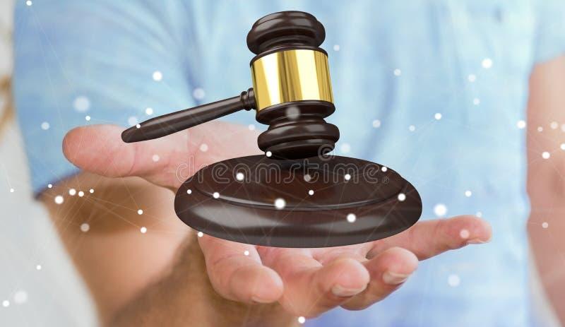 Hombre de negocios con la representación del martillo 3D de la justicia ilustración del vector