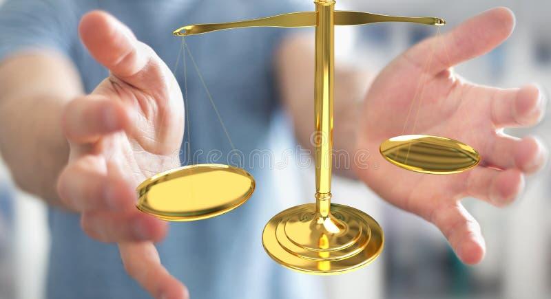 Hombre de negocios con la representación de las balanzas 3D de la justicia ilustración del vector