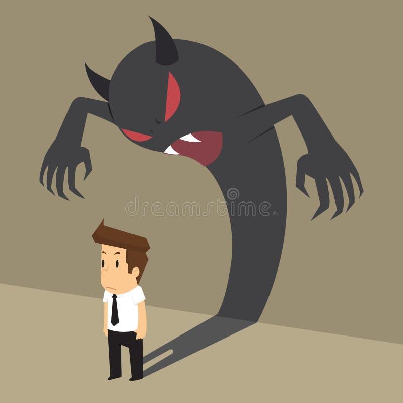 Hombre de negocios con la sombra del diablo que viene dentro de él libre illustration