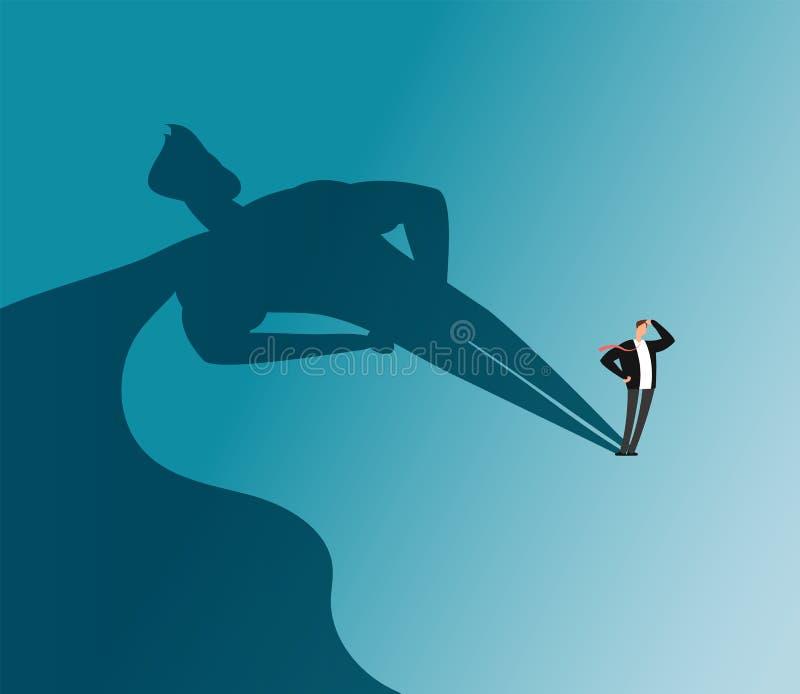 Hombre de negocios con la sombra del super héroe Concepto del vector de la ambición y del éxito empresarial ilustración del vector