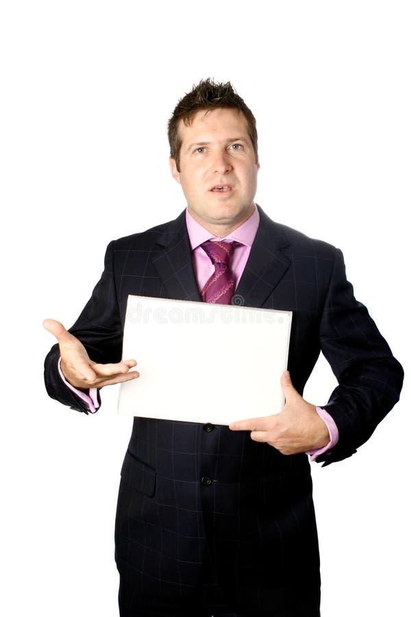 Hombre de negocios con la tarjeta blanca imágenes de archivo libres de regalías