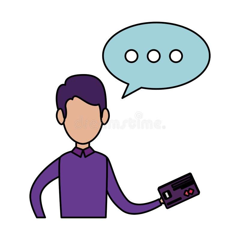 Hombre de negocios con la tarjeta de crédito y la burbuja del discurso stock de ilustración