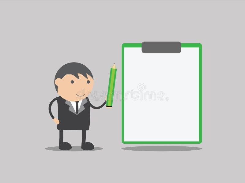 Hombre de negocios con la tarjeta en blanco Tarjeta en blanco vector del ejemplo del negocio Historieta del negocio foto de archivo libre de regalías