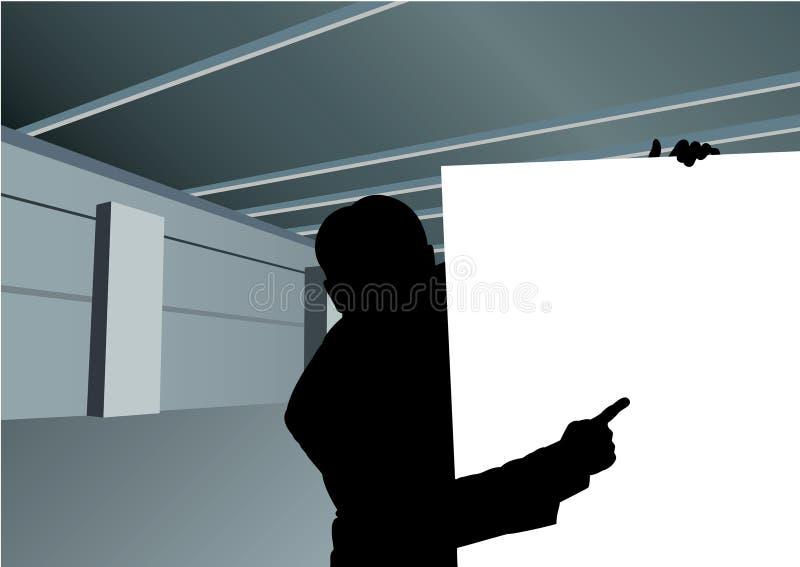 Hombre de negocios con la tarjeta para el vector de la silueta del texto ilustración del vector