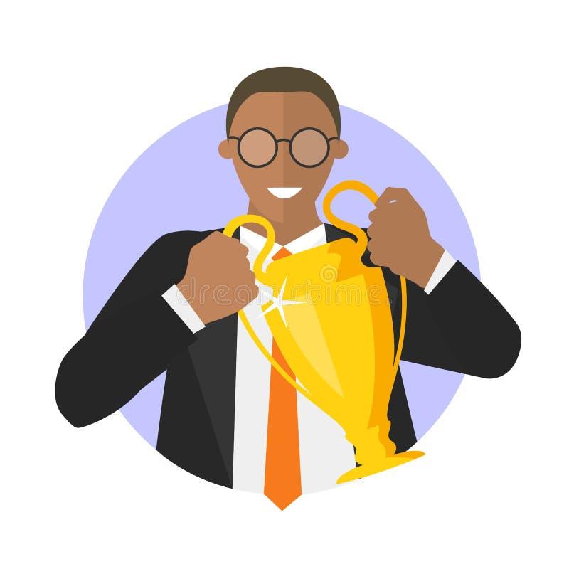 Hombre de negocios con la taza del ganador Ejemplo simplemente editable del vector libre illustration