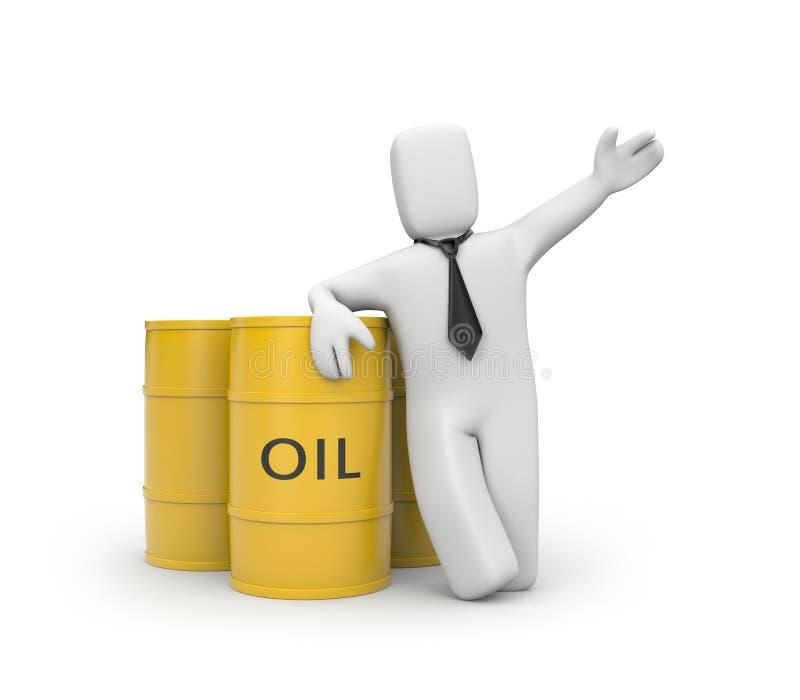 Hombre de negocios con los barriles de petróleo ilustración del vector