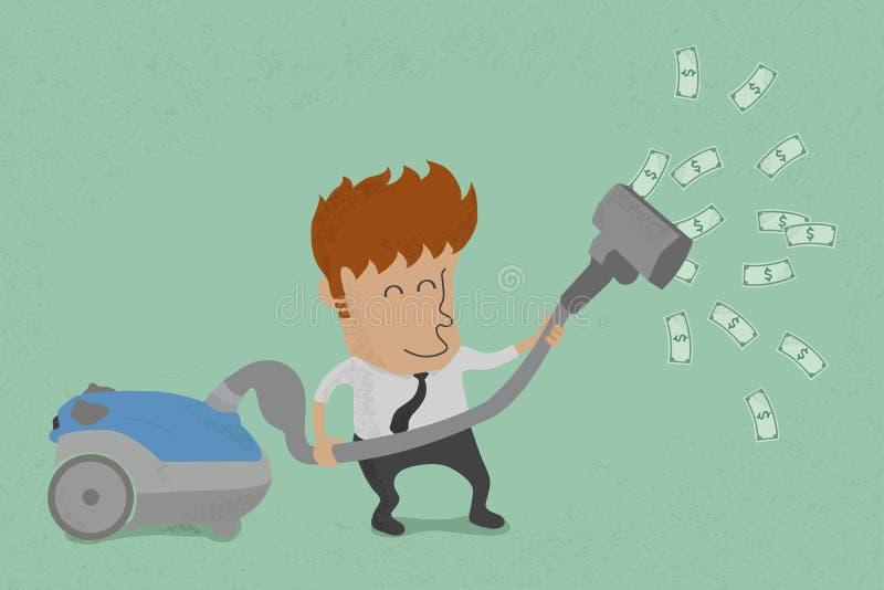 Hombre de negocios con los billetes de dólar de cogida del aspirador ilustración del vector