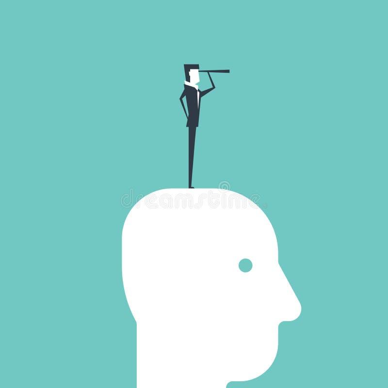 Hombre de negocios con los catalejos que se colocan en la cabeza libre illustration