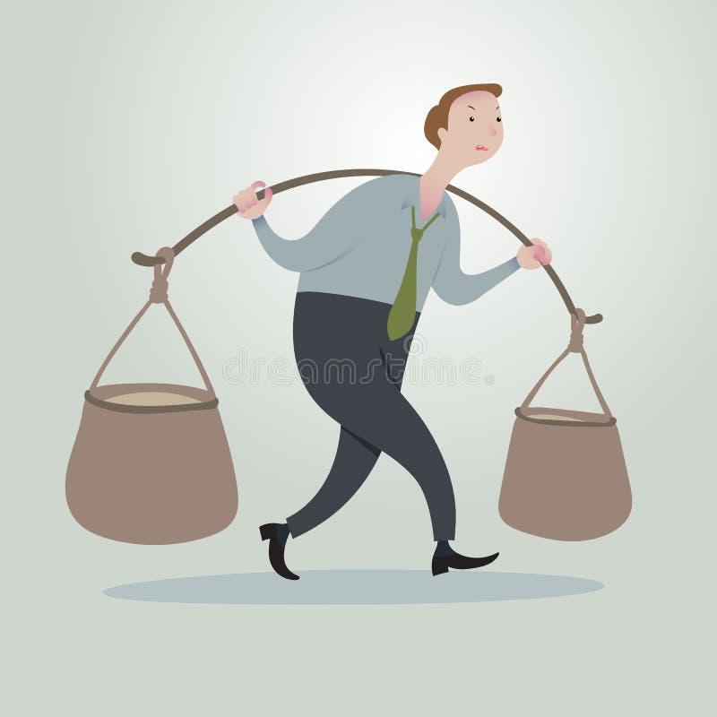 Hombre de negocios con los cubos pesados en sus hombros ilustración del vector