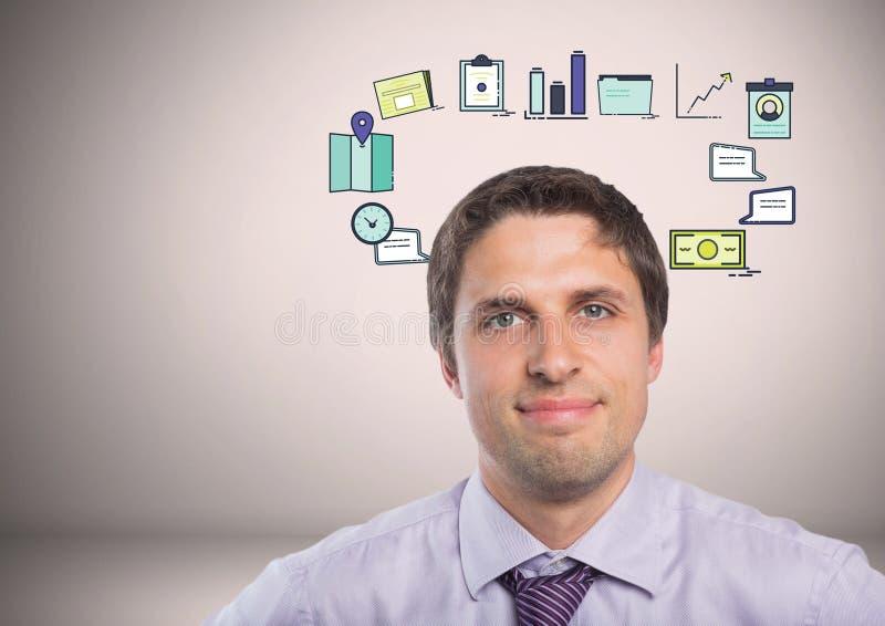 Hombre de negocios con los dibujos de gráficos de negocio fotografía de archivo libre de regalías
