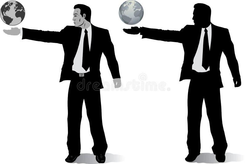 Hombre de negocios con los globos stock de ilustración