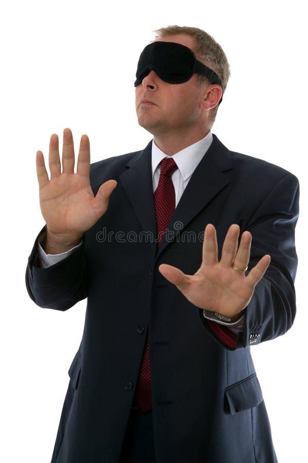 Hombre de negocios con los ojos vendados foto de archivo libre de regalías