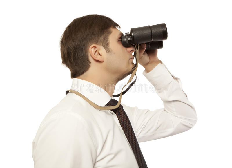 Hombre de negocios con los prismáticos fotos de archivo