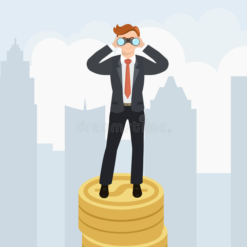 Hombre de negocios con los prismáticos que se colocan en el dinero libre illustration