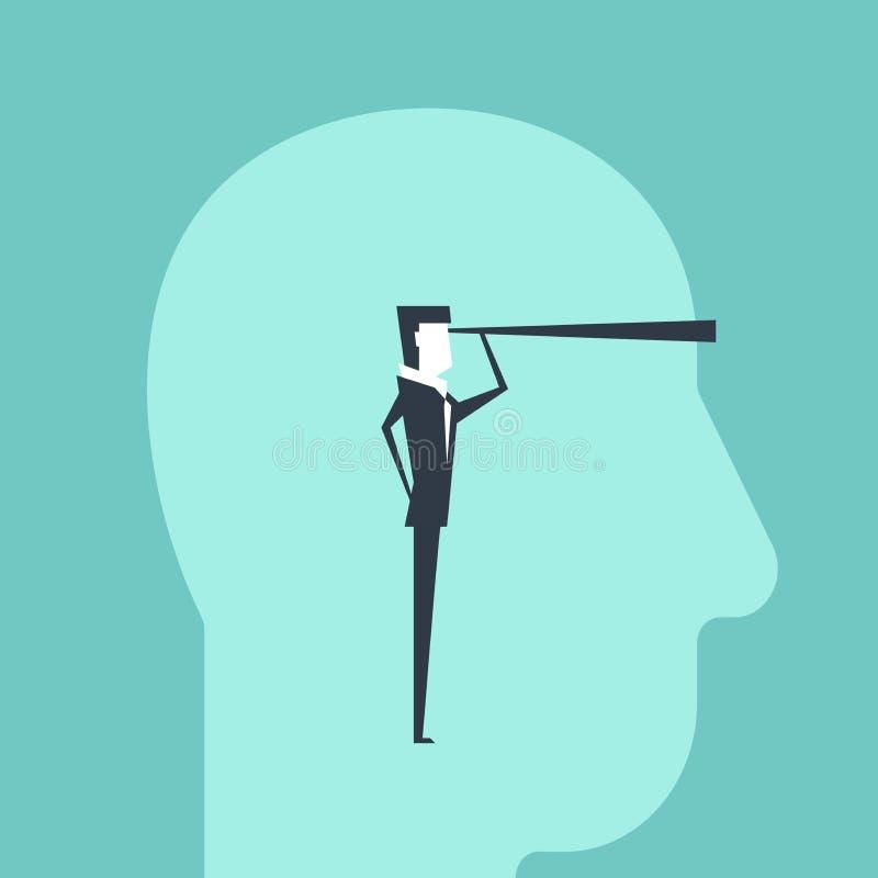 Hombre de negocios con los spyglasss en los ojos de la cabeza del hombre ilustración del vector