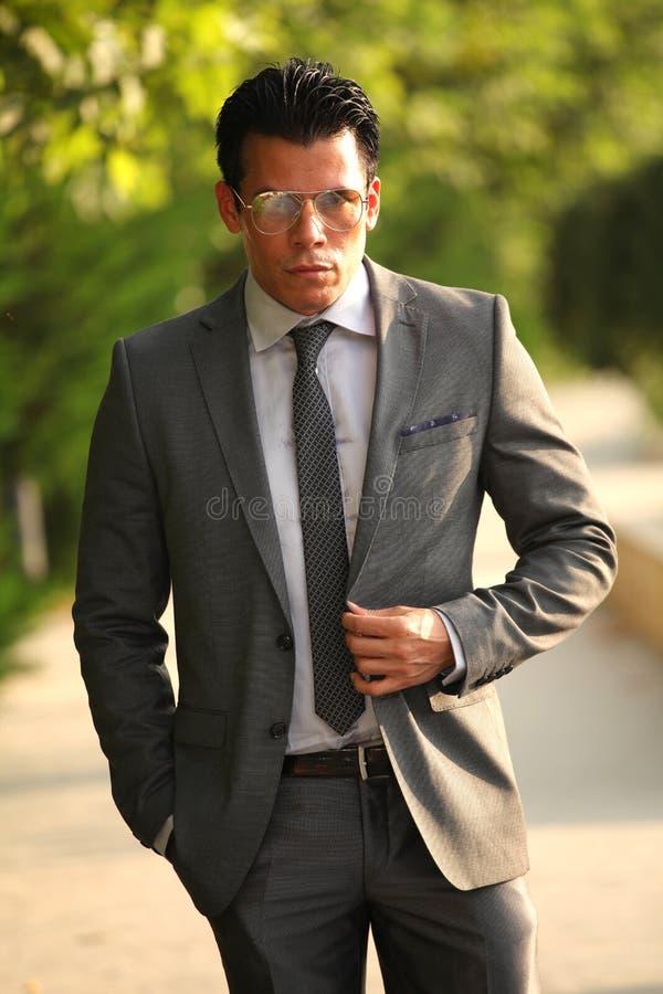 Hombre de negocios con los vidrios, Gray Suit imágenes de archivo libres de regalías