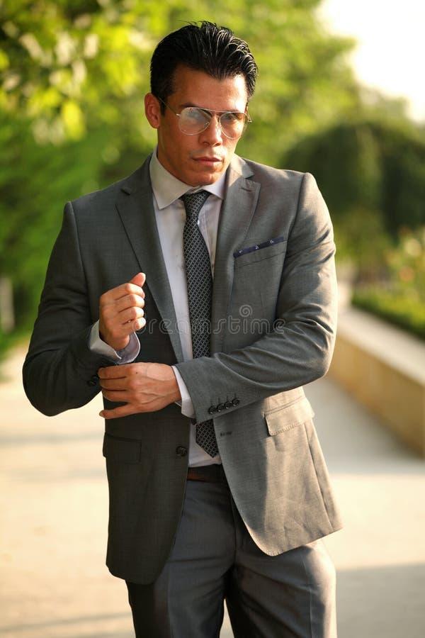 Hombre de negocios con los vidrios, Gray Suit fotografía de archivo