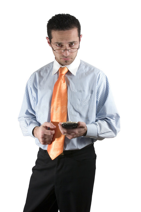 Hombre de negocios con PDA en la mano fotos de archivo libres de regalías