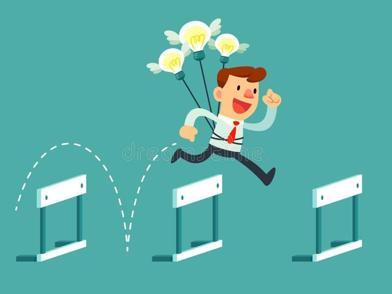 Hombre de negocios con salto de los bulbos de la idea sobre obstáculos libre illustration