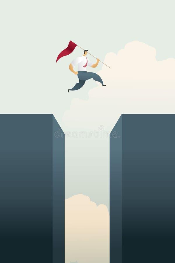 Hombre de negocios con saltos de la bandera a través del top de la carta de barra del hueco sobre de metas y la oportunidad del d stock de ilustración