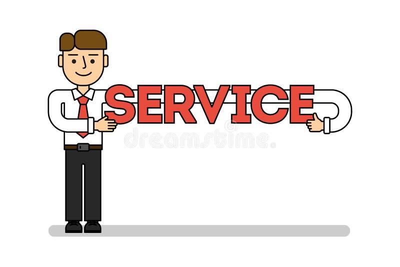 Hombre de negocios con servicio stock de ilustración