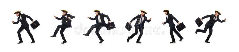 Hombre de negocios con tricorne y cartera aislada en blanco imagen de archivo libre de regalías